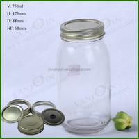 Round Mason Glass Jar Lucid Storage With Screw Lid