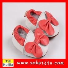 China supplier cheap good quality genuine cow leather orange bow embroidered shoes for children