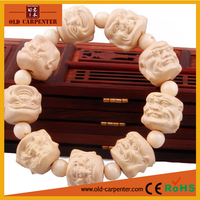 Spiritual elegant valuable Boxwood Eighteen Arhats natural well polished unique handmade wooden bracelets for women men