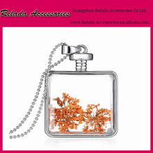 Wholesale fashion gifts jewelry Custom-made pressed real natural flower Glass pendant necklace