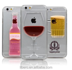 Red Wine Glass Beer Moving Liquid 3D New Case Cover For iPhone 5 6 Plus