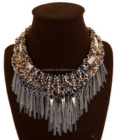 foreign trade antique black stone multi layer bead necklace