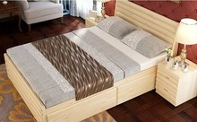 Modern solid wood bed with drawers