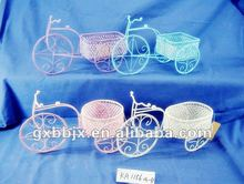 UNIQUE CRAFT!Wire Plastic beads round basket with bike collecting decor