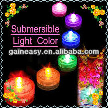 party favor plastic electric waterproof mini led tea light with different colors