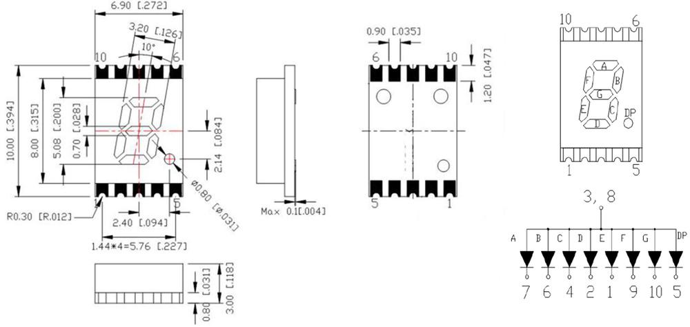 mini smt 7 segment led 0 2 inch number smd 7 segment led