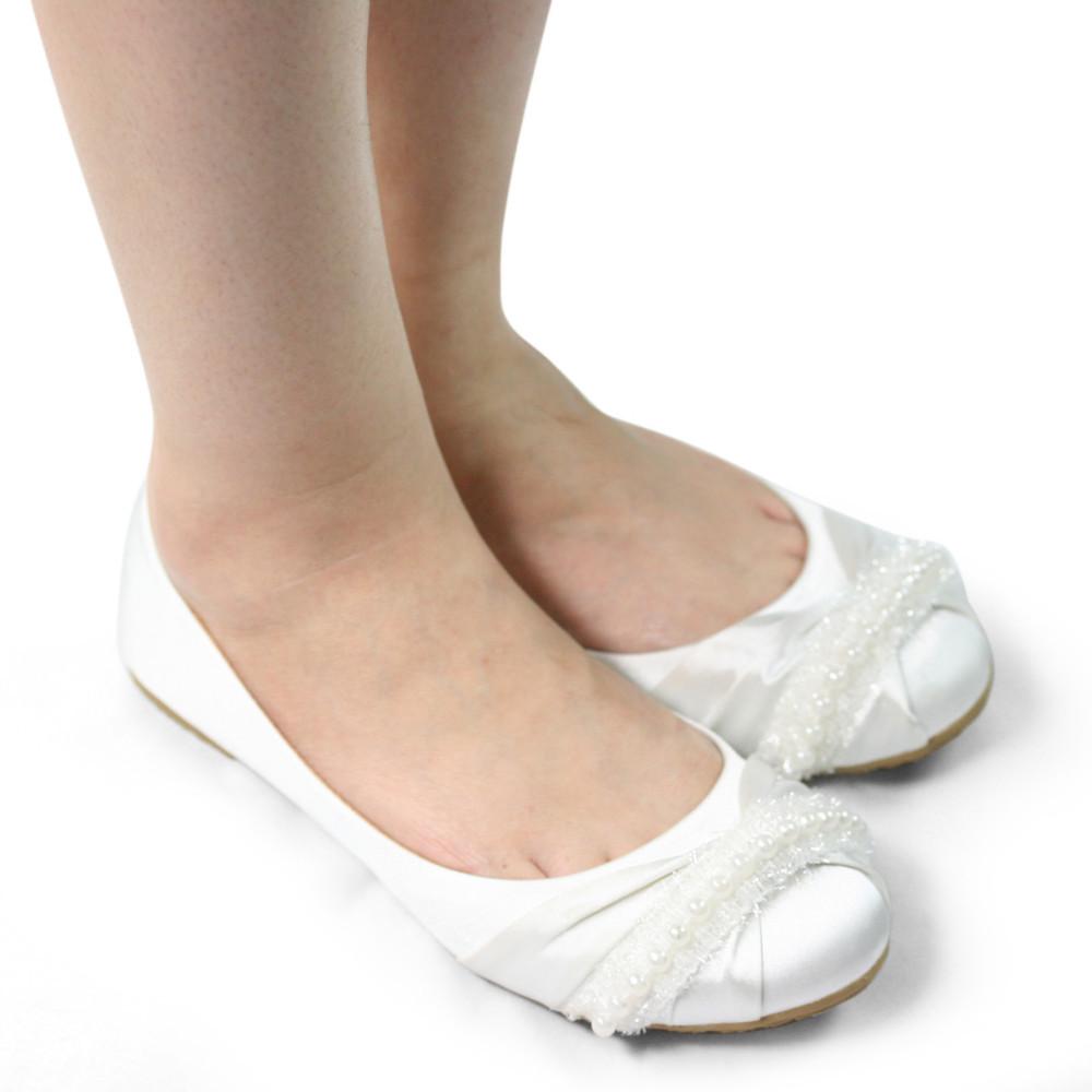 SHOEZY white women flat wedding shoes woman satin silk ...
