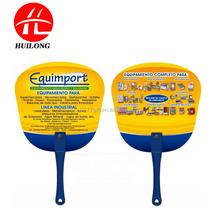 promotional pvc plastic fan, hard PVC advertising fan with long handle