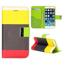 Mixed Color Flip Leather Phone Case for iPhone 6 Plus 5.5 inch