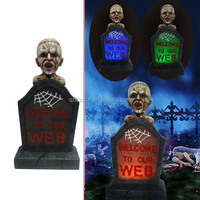 Halloween resin skull tombstone led light outdoor decoration