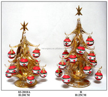 festive gold glass christmas tree hanging white and red balls for decoratio