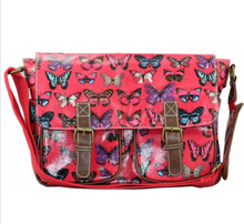 Ladies Oilcloth Butterfly Cross Body Satchel School Shoulder Bag Tote Handbag