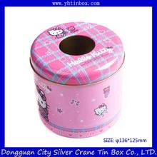 round tin metal tissue box