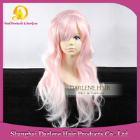 LOW14 Women's Long Natural Straight Heat Resistant Synthetic Hair Lolita Fashion White / Light Pink Ombre Wig