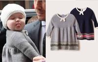 cashmere baby winter dress street star style frock for children fashion woolen skirt for girls
