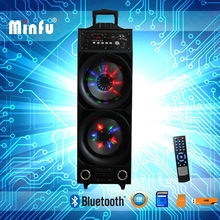 dual 10inch portable led light voice activated speaker with trolley