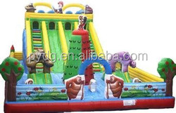 forest bear giant inflatable slide with climbing wall