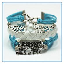 Hot new 2015 !!! Hand-woven believe love owl wings upper arm anchor chain bracelet