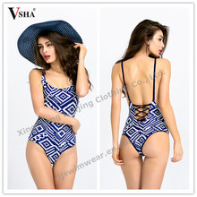 2015 new fashion sexy swimwear double side swimsuit set high quanlity hot two color flower print one-piece reversible bikini