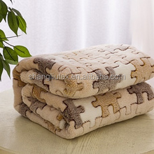 China home textile factory Embossed Coral fleece 3D blanket/Coral fleece 3D bed sheet fabric