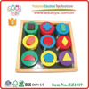 EZ1019 OEM 12 Geometric Shapes Wooden Educational Blocks for baby