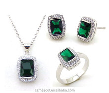 Jewelry Sets Simple Square Set Rhodium Plated Crystal Women Ring Earrings Set