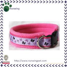 Nylon Ribbon Funny Dog Collar with Wide Fleece Lining