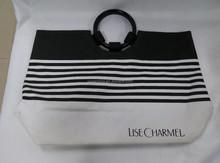 MSB001 2015 Fashion Big Black Stripe canvas shopping bag