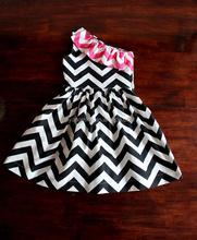 New 2015 Baby Girls Chevron one Shoulder fashion Dresses Girls Party new model dress