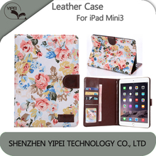 Foldable smart case for iPad mini3 Flower floral pattern Tablet Back Cover For ipad mini 3 case