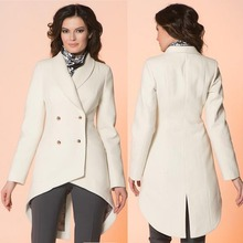 women sweater 8145 # 2015 fall and winter before the new European women's double-breasted wool coat lapel long white split ends