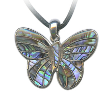 Silver Plated Abalone Shell Inlay Butterfly Slide Charm Pendant Shell Butterfly Hand-made Pendant Paua Shell Butterfly Blue 18''
