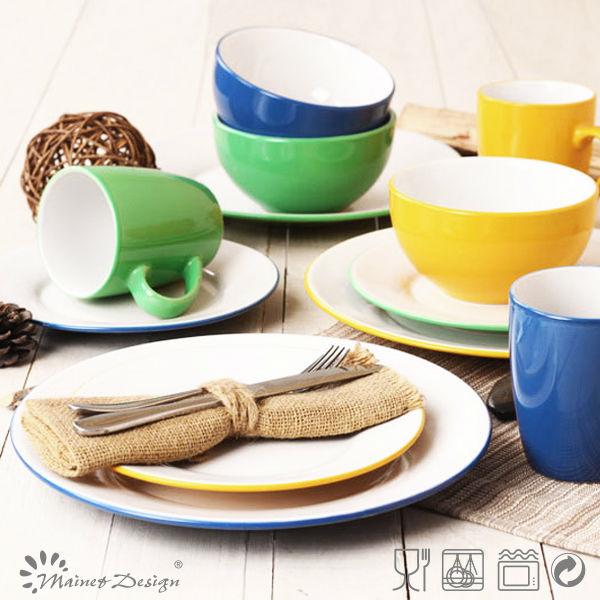 bicolor de vaisselle 16 pcs dner ensemble noir couleur grs cramique vaisselle sets pas cher - Vaisselle Colore Pas Cher