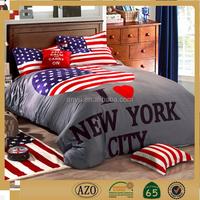 100% cotton american flag printing home textile bedding set