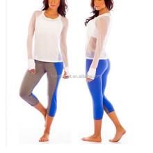 2015 Dry Fit Women Custom sports wear yoga wear yoga pants sexy long shirts high quality for girls