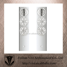 Silver Finish Flower design Luxurious door long pull handle