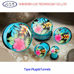 Beautiful flower pattern ear plug body piercing jewelry