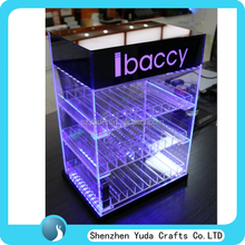 Luxury acrylic e-juice case with LED light, lockable display stand for e-liquid