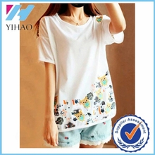 Yihao crew neck printed t-shirt with owl embroidering soft cotton t-shirt women garment factory