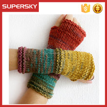 A-75 women crochet knit wrist mittens colorful knit arm warmers knitted fingerless gloves