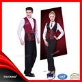 2015 tecidos de luxo para o costume italiano hotel restaurante garçom garçonete uniforme