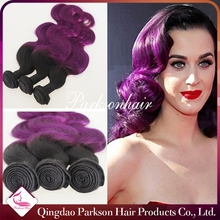 1b purple Ombre Color Gorgeous Brazilian Body Wave Weave 100% Remy Human Hair Mixed Lengths 8''--30'' 3pcs lot by DHL