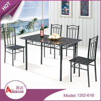 Foshan dining furniture metal base 120cm rectangular durable black wooden mdf dining table with 4 chairs