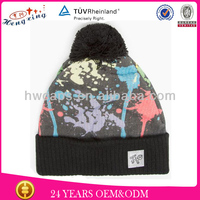 Knitted hat with pompom printing popular cool funky beanies