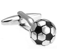 Ready to Play Silver Toned Soccer Ball Bullet Post Cufflinks