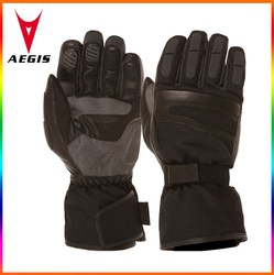 High Quality 2015 new product winter warm custom leather glove motorcycle waterproof in black