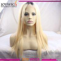 Dark Root Blonde Ombre Color Silk Top European Human Hair Jewish Wigs