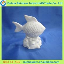 Popular porcelain fish figurines decoration with LED light