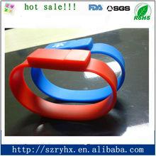 Hot selling silicone bracelet usb pen drive charm bracelet
