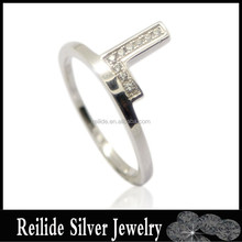 925 sterling silver L shape love Letters light weight small rings for lady